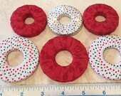 Pattern weights - Use instead of Pins when Cutting out a Sewing Pattern - Or Just Hold Your Book Open!! Red and red/white/green ribbon