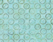 Moda Fabric - Latitudes Batiks by Kate Spain - A light aqua with green circles print Batik - 27250 302 - 1/2 yard - 100% cotton Batik