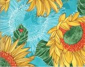"Moda Fabric - Solana by Robin Pickens - 48680 17 - Cotton Fabric - Aqua with sunflowers - 44"" wide - Sunflowers"