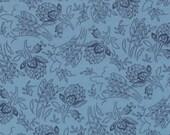Moda Fabric - Grant Park -  by Minick & Simpson - 1/2 yard - 14773-15 - Light blue with dark blue floral print- Cotton Fabric