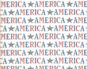 Moda Fabric -America the Beautiful by Deb Strain - 1/2 yard - 19983 12  White with the word America - Cotton Fabric
