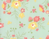 Moda Fabric - Strawberry Jam by Corey Yoder - 1/2 yard - 29060 - 19 Mint Green with yellow and coral floral print - Cotton Fabric