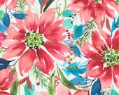 """Moda Fabric - Starflower Christmas by Create Joy Project - 8480 12 - Cotton Fabric - Poinsettias with blue - 44"""" wide - 1/2 yard"""