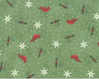 Moda Fabric -Homegrown Holidays by Deb Strain - 1/2 yard - 19945 14  Green with Cardinals and white snowflakes - Cotton Fabric