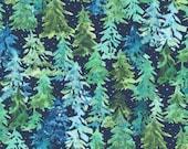 "Moda Fabric - Starflower Christmas by Create Joy Project - 8482 13 - Cotton Fabric - pine trees navy background - 44"" wide - 1/2 yard"