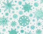 "Moda Fabric - Starflower Christmas by Create Joy Project - 8483 11 - Cotton Fabric - Aqua snowflakes on white - 44"" wide - 1/2 yard"