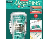 """Magic Pins - 1 7/16"""" extra sharp straight pins with Heat-resistant grips - Green - 100 ct."""