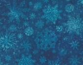"Moda Fabric - Starflower Christmas by Create Joy Project - 8483 15 - Cotton Fabric - blue snowflakes on navy - 44"" wide - 1/2 yard"