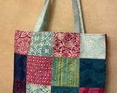 Moda - Charm Street Market Tote Kit - DIY bag Kit -  Longitude by Kate Spain - Aqua print lining and straps  - Batik