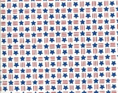 Moda Fabric -America the Beautiful by Deb Strain - 1/2 yard - 19987 12  white with red stripes and blue stars - Cotton Fabric