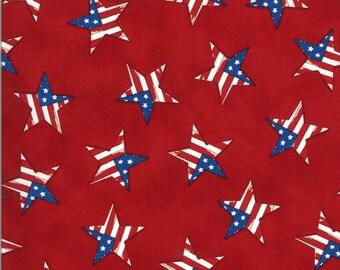 Moda Fabric -America the Beautiful by Deb Strain - 1/2 yard - 19988 11  red with patriotric stars - Cotton Fabric