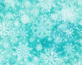 "Moda Fabric - Starflower Christmas by Create Joy Project - 8483 12 - Cotton Fabric - snowflakes on aqua - 44"" wide - 1/2 yard"