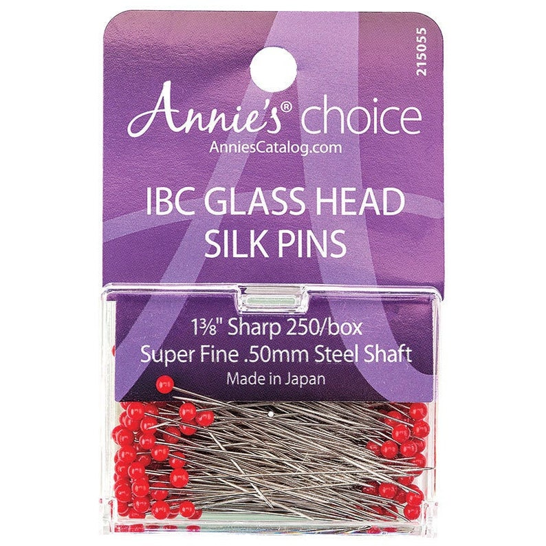 IBC Glass Head Silk Pins  1 3/8 sharp straight pins image 0