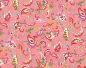 Moda Fabric - Coco by Chez Moi 33392 - 14 - 1/2 yard - Coral Pink with Floral design - Cotton Fabric