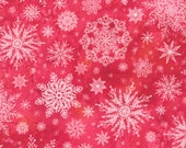 """Moda Fabric - Starflower Christmas by Create Joy Project - 8483 16 - Cotton Fabric - white snowflakes on red - 44"""" wide - 1/2 yard"""