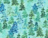 "Moda Fabric - Starflower Christmas by Create Joy Project - 8482 12 - Cotton Fabric - pine trees blue background - 44"" wide - 1/2 yard"