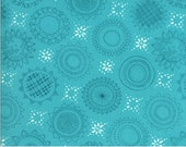 """Moda Fabric - Solana by Robin Pickens - 48682 17 - Cotton Fabric - Aqua with circles and squares - 44"""" wide - Solana 1/2 yard"""