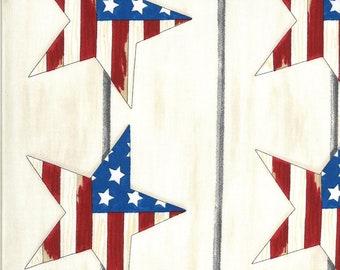 Moda Fabric -America the Beautiful by Deb Strain - 1/2 yard - 19981 12  white with patriotic stars - Cotton Fabric