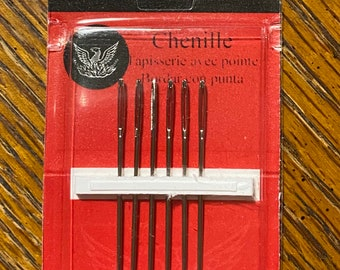 Richard Hemming Chenille Needles - Sizes 22 - 6 count - Used in Wool applique and embroidery - big eye - sharp point