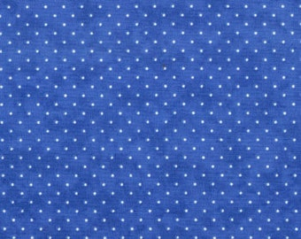Moda Fabric - Essential Dots - Royal Blue color - 1/2 yard  - 8654 - 30 Royal Blue with white dots - Cotton Fabric