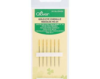 Clover Gold Eye Chenille Needles - Sizes 24 - 5 count - Used in Wool applique and embroidery - big eye - sharp point