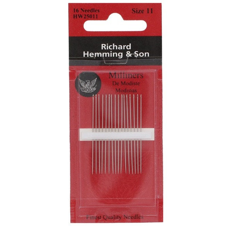 Richard Hemming Milliners Needles  Sizes 11  10 ct  Long image 0