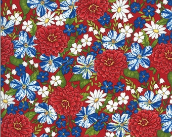 Moda Fabric -America the Beautiful by Deb Strain - 1/2 yard - 19982 11  red with flowers - Cotton Fabric