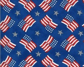 Moda Fabric -America the Beautiful by Deb Strain - 1/2 yard - 19986 14  Blue with flags and stars - Cotton Fabric