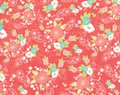 Moda Fabric - Tuppence by Shannon Gillman Orr - 1/2 yard - 45510-18 Coral background Mint, Yellow, coral, white Print - Cotton Fabric
