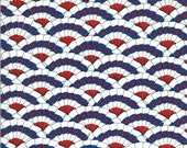 Moda Fabric -America the Beautiful by Deb Strain - 1/2 yard - 19984 12  Mostly white with stacked bunting flags - Cotton Fabric