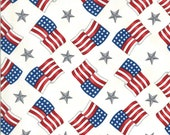 Moda Fabric -America the Beautiful by Deb Strain - 1/2 yard - 19986 12  White with flags and stars - Cotton Fabric