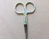Embroidery scissors with Sewing - Safety Pins Motif - Brown, Cream and pastels - 3 1/2 inches
