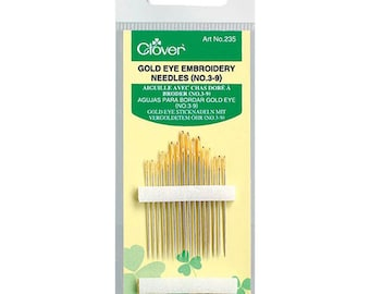 Clover Gold Eye Embroidery Needles - Sizes 3-9 - 16 count