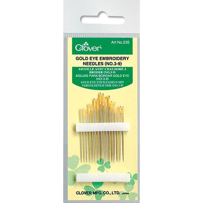 Clover Gold Eye Embroidery Needles  Sizes 3-9  16 count image 0