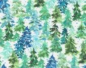 "Moda Fabric - Starflower Christmas by Create Joy Project - 8482 11 - Cotton Fabric - pine trees white background - 44"" wide - 1/2 yard"