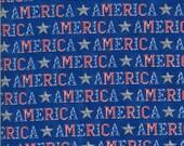 Moda Fabric -America the Beautiful by Deb Strain - 1/2 yard - 19983 14  Royal Blue with the word America - Cotton Fabric