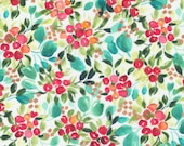 """Moda Fabric - Starflower Christmas by Create Joy Project - 8481 11 - Cotton Fabric - Berries with teal leaves - 44"""" wide - 1/2 yard"""