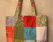 Moda - Charm Street Market Tote Kit - DIY bag Kit -  Dear Mum by Robin Pickens - Red/orange lining and straps