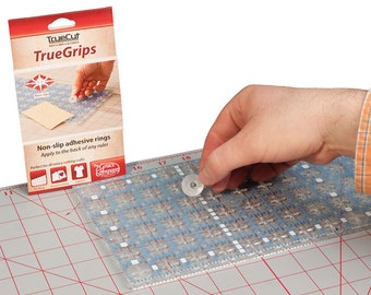 TrueCut - True Grips - Non-Slip Adhesive Rings - Apply to the back of any Ruler! - Pack of 15 large and 15 small grips - TrueGrips