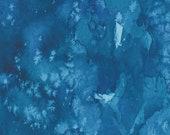 "Moda Fabric - Starflower Christmas by Create Joy Project - 8433 34 - Cotton Fabric - Navy marble - 44"" wide - 1/2 yard"