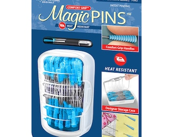 """Magic Pins - 1 3/4"""" sharp straight pins with Heat-resistant grips"""