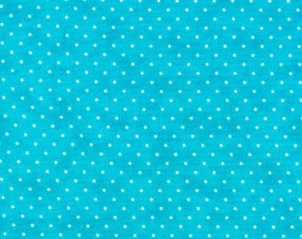 Moda Fabric - Essential Dots - Turquoise color - 1/2 yard - 8654 - 35 Turquoise with white dots - Cotton Fabric