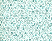 Moda Fabric - A Blooming Bunch - Maureen McCormick - 1/2 yard - 40047 32 - Off-white with light teal small flowers - Cotton Fabric