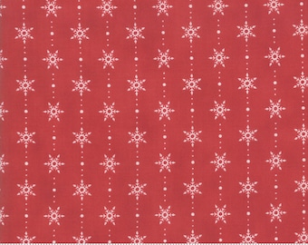 Moda Fabric -Homegrown Holidays by Deb Strain - 1/2 yard - 19946 13  Red with white snowflakes - Cotton Fabric