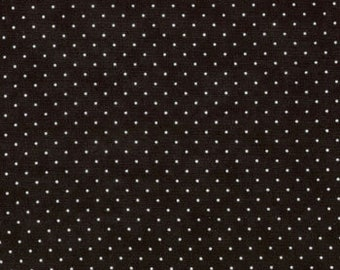 Moda Fabric - Essential Dots - Jet Black color - 1/2 yard  - 8654 - 41 Jet Black with white dots - Cotton Fabric