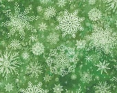 """Moda Fabric - Starflower Christmas by Create Joy Project - 8483 19- Cotton Fabric - white snowflakes on green - 44"""" wide - 1/2 yard"""