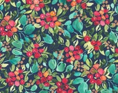 """Moda Fabric - Starflower Christmas by Create Joy Project - 8481 13 - Cotton Fabric - Berries with navy background - 44"""" wide - 1/2 yard"""