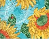 "Moda Fabric - Solana by Robin Pickens - 48680 17 - Cotton Fabric - Aqua with sunflowers - 44"" wide - Sunflowers 1/2 yard"