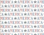 Moda Fabric -America the Beautiful by Deb Strain - 1/2 yard - 19983 12  White with the word America - Cotton Fabric