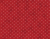 Moda Fabric - Essential Dots - Country Red color - 1/2 yard  - 8654 - 1801 Country Red with cream dots - Cotton Fabric